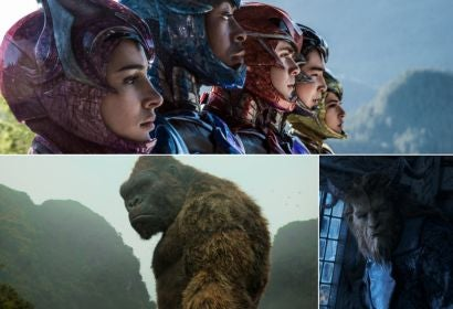 Scenes from POwer Rangers, beauty and the Beast and Kong. Skull Island