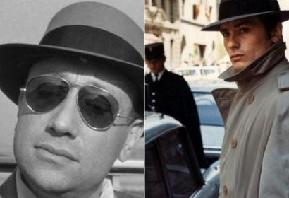 Directro Jean Pierre Melville and aCtpor Alain Delon ina s ecne of Le Samouraï