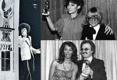 Michael Jackson, Barbra Streisand, Paul Williams, Giorgio Moroder, Donna Summer at the Golden Globes