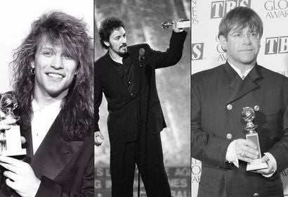 Jon Bon Jovi, Bruce Springsteen and Elton John, Golden Globe winners