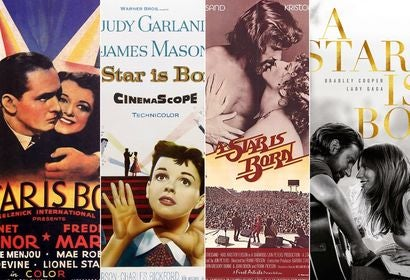 """Posters for the four """"A Star is Born"""""""