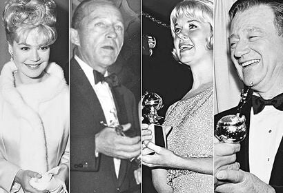 Sandra Dee, Bing Crosby, Doris Day and John Wayne at the Golden Globes