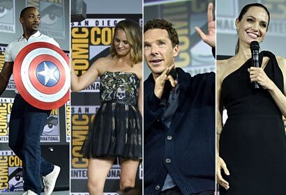 Anthony Mackie, Natalie POrtman, Benedict Cumberbatch and Angelina Jolie at the Marvel presentation at Comic Con 2019