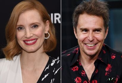 Jessica Chatsain and Sam Rockwell, presenters, Golden Globes 2019