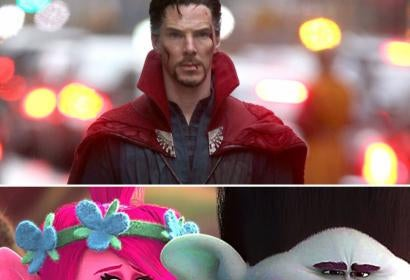 Scenes from Doctor Strange and Trolls