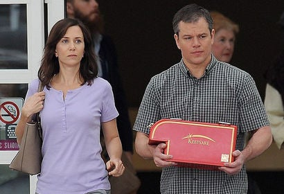 "Scene from ""Downsizing"" with Kristen Wiig and Matt Damon"