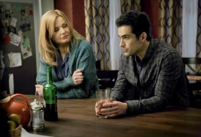 A scene from the Tv series The Exorcist with Alfonso Herrera and Geena davis