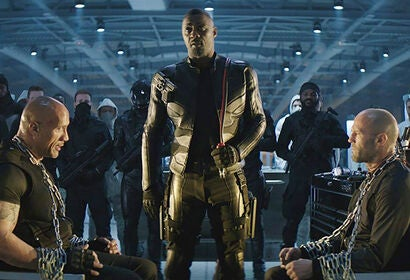 Dwayne Johnson, Idris Elba and Jason Statham in Fast & Furious Presents: Hobbs & Shaw