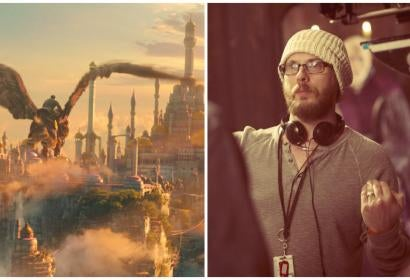 Director Duncan Jones on set and a scene from Warcraft