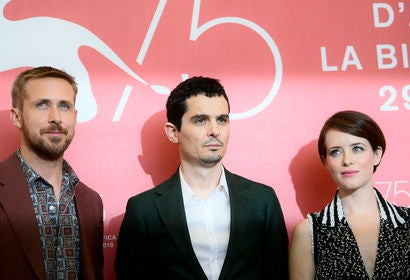 Ryan Gosling, Damien Chazelle and Claire Foy, Venice 2018