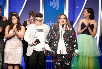 "Cast and crew of ""Vida"" accept an award at GLAAD Media 2019"