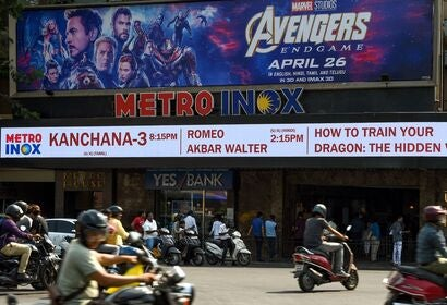 A movie theater showing Avengers Endgame in Mumbai, India