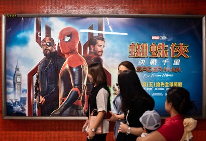 A poster for Spider-Man Far From Home, in China
