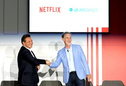 Annoucement of partnership Netflix Mediaset, in Italy, 2019