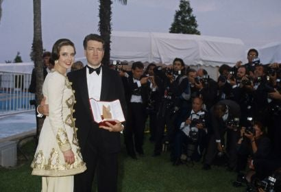 Director David Lynch and actress Isabella Rosselini in Cannes 1990