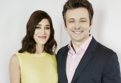 Actors Lizzy Caplan and Michael Sheen
