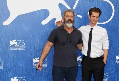 Director Mel Gibson and actor Andrew Garfield