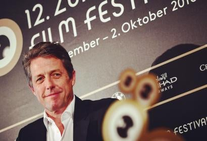 Hugh Grant, Golden Globe winner, recieved the Golden Icon award at the Zurich Film Festival 2016