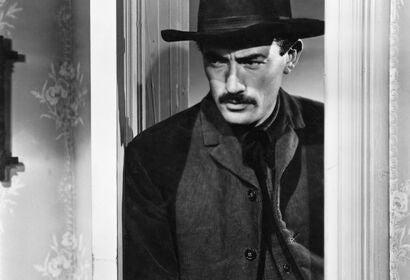 Gregory Peck, Golden Globe winner, in a scene from The Gunfighter, 1950
