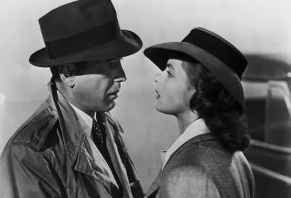 "Humphrey Bogart and Ingrid Bergman in a scene from the movie ""Casablanca"""