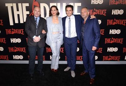 David Simon, Maggie Gyllenhaal, James Franco and George Pelecanos attend 'The Deuce' New York premiere