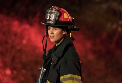 "Actress Jaina Lee Ortiz in the TV series ""Station 19"""