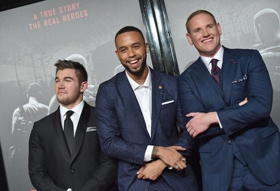 lek Skarlatos, Anthony Sadler and Spencer Stone attend the premiere of 'The 15:17 to Paris'