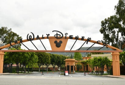 A view of the entrance to Disney Studios, 2020