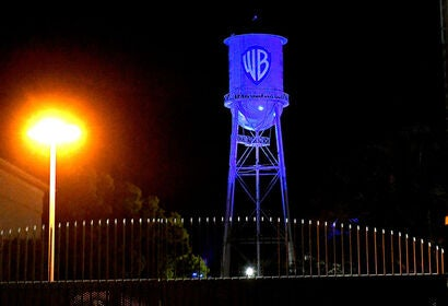 Warner Studios at night