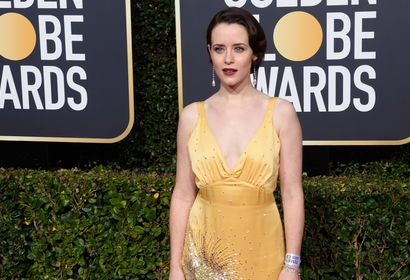 Actress Claire Foy, Golden Globe winner, at the 2019 Golden Globes
