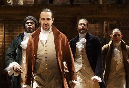 "A scene from the film of the play ""Hamilton"", 2020"