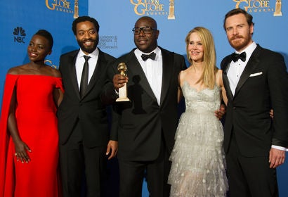 Director Steve McQueen and actors Lupita Nyong',Chiwetel Ejiofor ,Sarah Paulson and Michael Fassbenderat the 71st Golden Globes