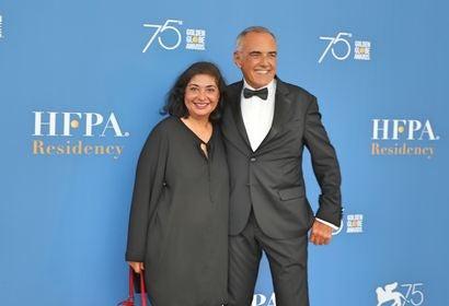 HFPA President Meher Tatna and Venice Festival Director Alberto Barbera