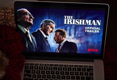 The Irishman on a computer screen