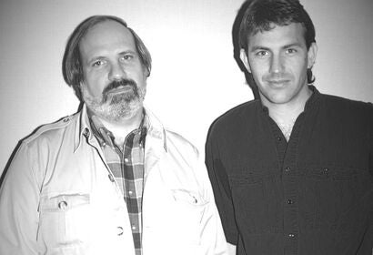 Kevin Costner, Golden Globe winner, with director Brian DePalma, 1987