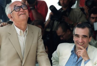 Master Japanese filmmaker Akira Kurosawa and Filmmaker Martin Scorsese in Cannes 1990
