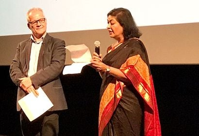 HFPA President Meher Tatna and Lumiere Festival director Thierry Fremaux