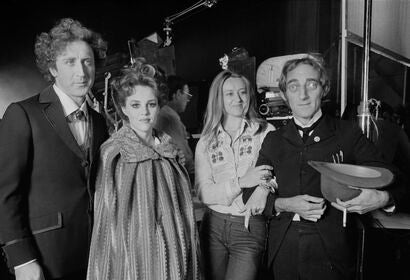 """Young Frankenstein"" Cast: American actor, screenwriter, director, producer, singer-songwriter and author Gene Wilder (1933-2016), American actress, comedian, voice actress, and singer Madeline Kahn (1942-1999), and British actor, comedy writer, and comed"