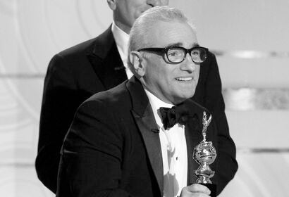 Martin Scorsese accepting his Cecl B. deMille award in 2010