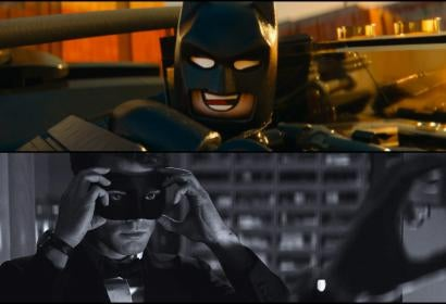 Scenes from The Lego Batman Movie and Fifty Shades Darker