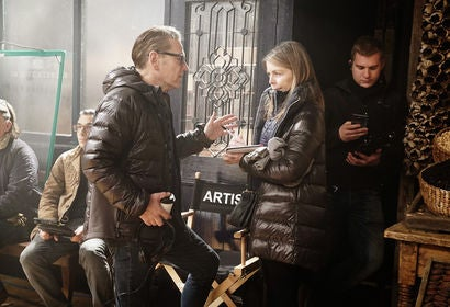 Judy Hofflund on set of Murder on the Orient Express with director and star, Kenneth Branagh