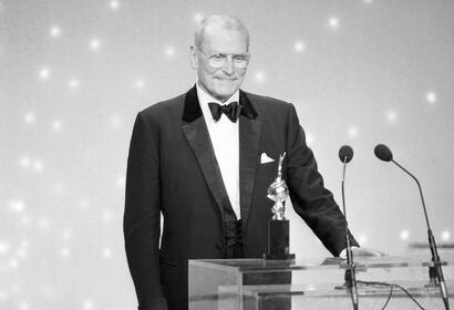 Actor Laurence Olivier, Golden Globe winner, Cecil B. deMille award recipient
