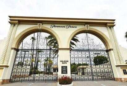 Gates to the Paramount Studios during the coronavirus lockdown, 2020