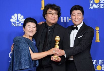 Parasite team at the 2020 Golden Globes