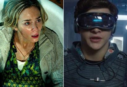 "Scenes from the movies ""A Quiet Place"" and ""Ready Player One"""