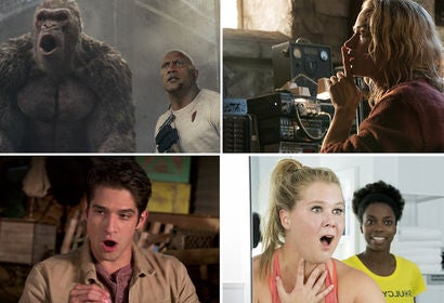"Scenes from ""Rampage"", ""A Quiet Place"", ""Truth or Dare"" and ""I Feel Pretty"""
