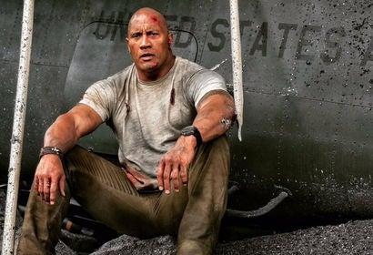 Dwayne Johnson in a scene of Rampage