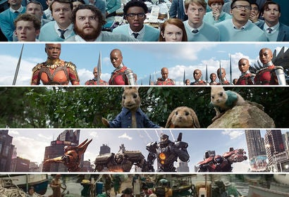 "Scenes from ""Ready Player One"", ""Black Panther"", ""Peter Rabbit"", ""Pacific Rim: Uprising"" and ""Tomb Raider"""