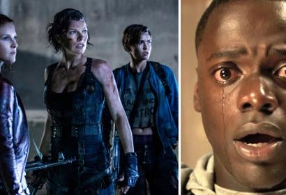 Scenes from Resident Evil: The Final Chapter and Get Out