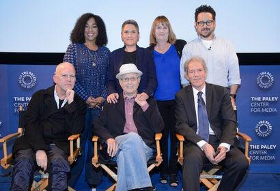 Shonda Rhimes, Jill Soloway, Jenny Cooney (HFPA), J. J. Abrams, Ryan Murphy, Norman Lear and David E. Kelley
